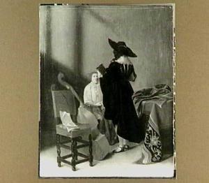 Twee musicerende figuren in een interieur