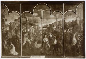 God de Vader (boven) Mozes slaat water uit de rotsen (midden) Madonna en heiligen (onder) (linkerluik); De kruisiging (middendeel); Mozes richt de koperen slang op (rechterluik)