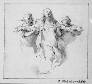 Treurende vrouw, door twee figuren ondersteund