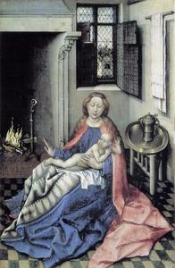 Maria met kind bij het haardvuur