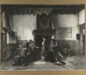 Wachtkamer met soldaten