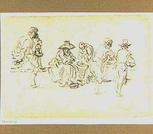 Vijf figuren bij een aantal manden
