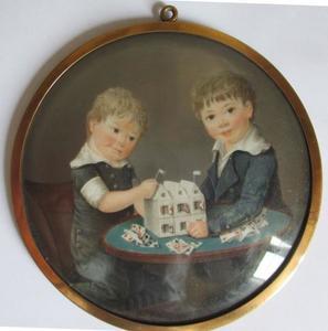 Dubbelportret van twee kinderen Van Loon - Van Weede