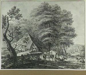 Boerderij met vee, op de achtergrond een ruïne