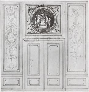 Achterwand met twee behangselvlakken ter weerszijden van een porte-brisée en een opzet vel over het bovendeurstuk
