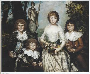 Groepsportret van vier kinderen van  de Antwerpse weduwe Françoise-Jacqueline Peeters D'Aertselaer (1751-1805): Edouard Guyot, Ferdinand Guyot, Françoise Guyot en Honoré-Jean Guyot
