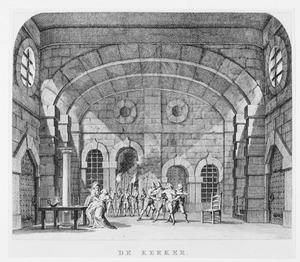 Scène uit het treurspel 'Gabriëla van Vergy' door P.L. Buirette de Vergoy, in het door Pieter Pietersz. Barbiers in 1774 voor de Amsterdamse Stadsschouwburg ontworpen decor