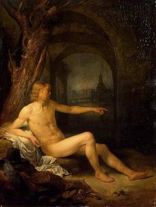 Naakte man in een landschap, met een doorkijk naar de Blauwpoort te Leiden