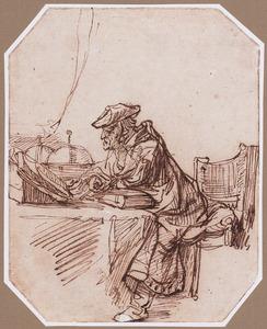 Geleerde zittend aan zijn schrijftafel