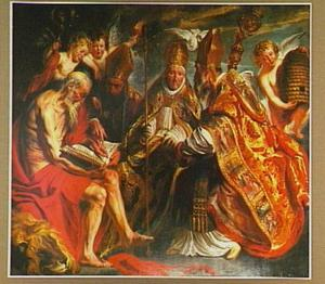 De vier Latijnse kerkvaders: HH. Hiëronymus, Augustinus, Gregorius en Ambrosius met hun respectieve attributen leeuw, brandend hart, duif en bijenkorf