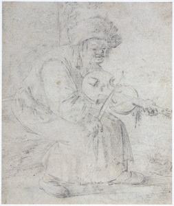 Zittende zigeunerin, vioolspelend