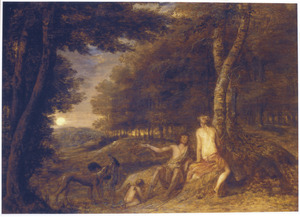 Boslandschap met Venus, Amor en Adonis, die zich opmaakt om te gaan jagen