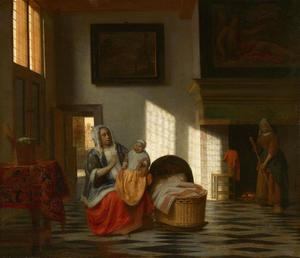 Moeder en kind bij een wieg in een interieur