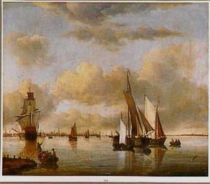 Schepen op het IJ bij Amsterdam