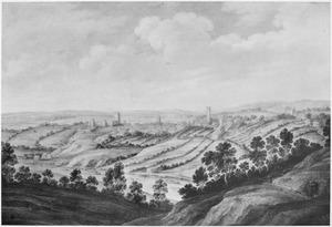 Heuvellandschap met gezicht op Richmond Castle, Yorkshire
