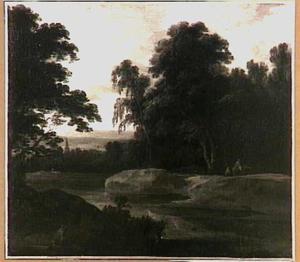 Boslandschap met een rivier en een kerktoren in het verschiet