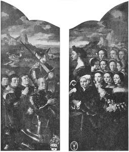 Portret van Adriaen Rockox met zijn zonen en de H. Adrianus (links); Portret van Catharina van Overhoff met haar dochters en de H. Catharina (rechts)
