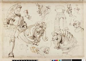 Studie van een ridder op een paard, paarden, ridders en wapenuitrusting