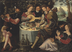 Elegant gezelschap aan een tafel met vruchten en wijn, in een landschap