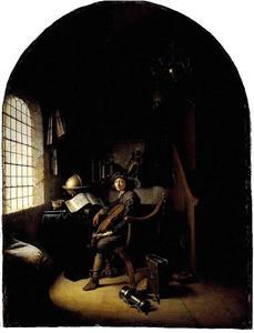 Jonge violist zittend in zijn studeerkamer