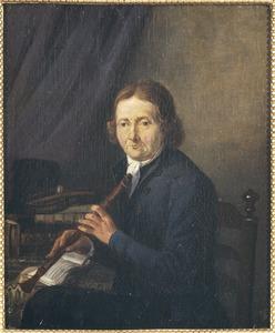 Portret van Hendrik de Blinde met een blokfluit