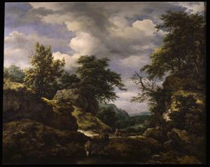 Heuvellandschap met herders en enkele koeien