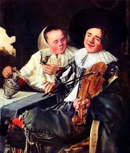 Elegant drinkend en musicerend paar