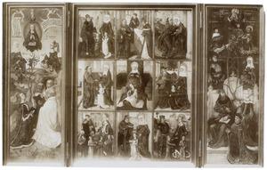 De afstamming van Christus en drie karmelieten (links), episoden uit het leven van de H. Anna en de maagschap van de H. Anna (midden), de afstamming van de H. Servaas en stichter (rechts)