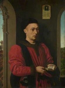 Portret van een jonge man met een gebedenboek
