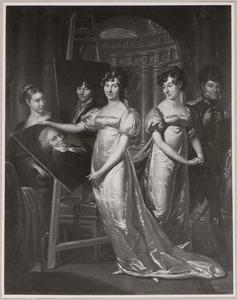 Portret van Auguste-Louis de Gauville (1787-1848) met drie zusters