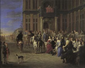 Vertrekkende ruiters voor het bordes van een paleis