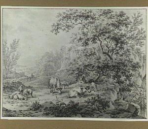 Landschap met herders en vee bij een vijver