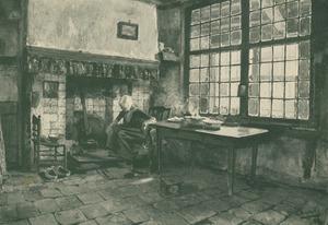 Hollands interieur met een boerin bij de haard