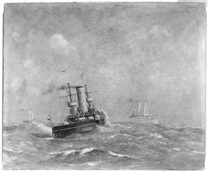 Het pantserschip Hr.Ms. 'Kortenaer' geescorteerd door twee kruisers