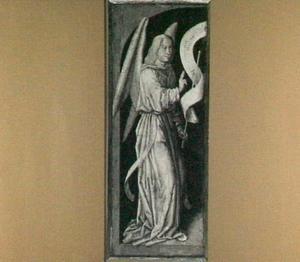 De engel Gabriël (op de binnenzijde: De kruisiging)