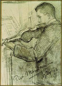 F.H. Mondriaan playing the violin