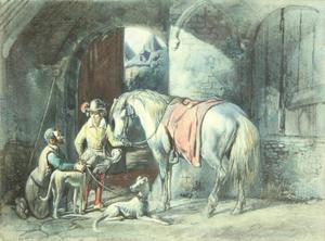 Twee figuren met honden en een paard in een stal