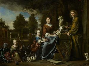 Agnes Block (1629-1704), Sybrand de Flines (1623-1697) en twee kinderen op de buitenplaats Vijverhof