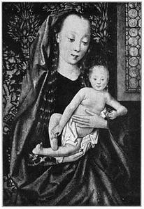 Marie met kind in een interieur met glas-in-loodraam en brokaten achtergrond; het kind speelt met zijn teentje