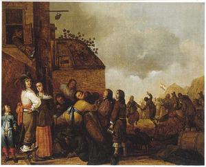 Hofmakende en dansende soldaten en vrouwen voor een herberg