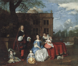 Familieportret voor een buitenplaats