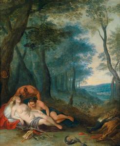Sater bespiedt de slapende Diana
