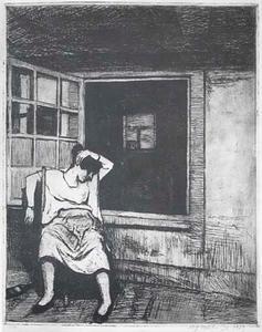 Vrouw zittend voor open venster