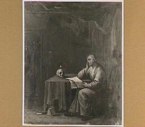 Lezende oude man in een interieur