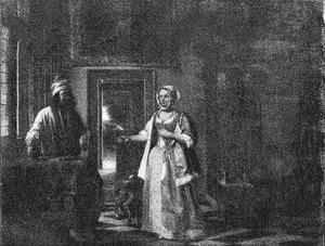 Man met glas en kruik en vrouw die haar lijfje dichtrijgt