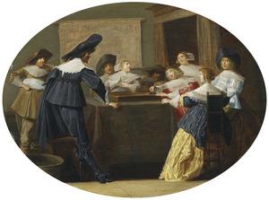 Interieur met triktrak spelende mannen en vrouwen