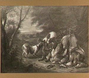 Landschap met jachtstilleven en vechtende honden