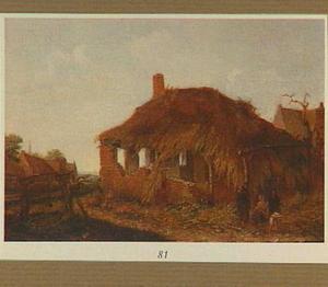 Landschap met zigeuners bij een vervallen schuur