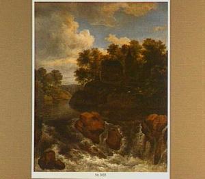 Landschap met een kasteel bij een waterval
