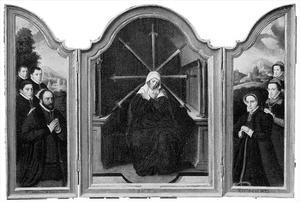 Portret van de stichter met drie zonen (binnenzijde links), Maria van de zeven smarten (midden), portret van de stichtster met twee dochters (binnenzijde rechts) (op de buitenzijden van de luiken familiewapens)